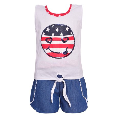 Little Girls Red White Blue Flag Emoticon Patriotic 2 Pc Shorts Outfit