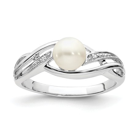 Sterling Silver 2 MM Diamond and FW Cultured Pearl Ring, Size 9 (Diamond Fw Pearl Ring)