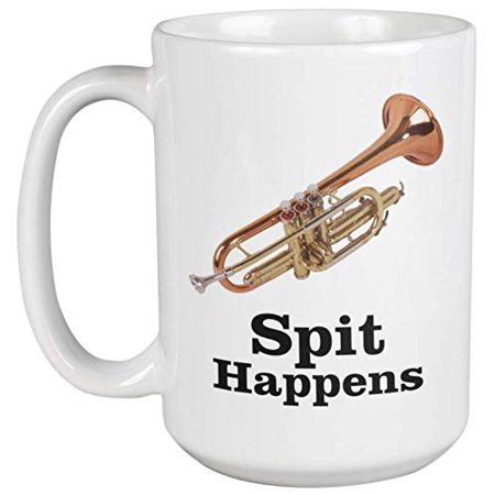 March Conductor (Spit Happens. Cool And Cute Trumpet Coffee & Tea Gift Mug For Marching Band Players, Musicians, Artists, Music Conductor, Teens, Students, Moms, Dads, Women And Men (15oz))