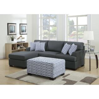 Moss 2 Pieces Sectional Sofa in Blended Linen with Matching Ottoman
