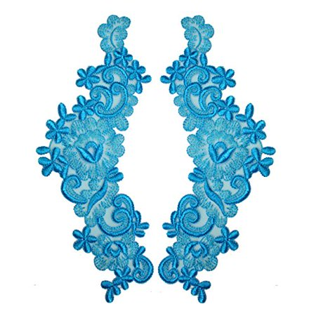 """Turquoise 9""""x3"""" Floral Embroidered Sheer Organza Motif Applique Patch by Pair (2 Pieces)"""
