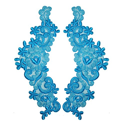 "Turquoise 9""x3"" Floral Embroidered Sheer Organza Motif Applique Patch by Pair (2 Pieces)"
