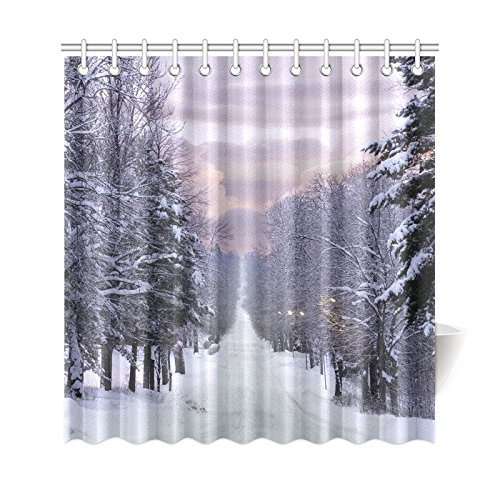GCKG Winter Landscape Shower Curtain Snow Forest Tree Polyester Fabric Bathroom Sets 66x72 Inches