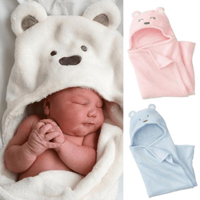 Cute Baby Bath Towel Coral Fleece Blanket Infant Hooded Wrap Bathrobe Animal G