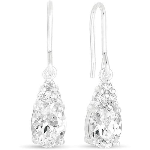 CZ Sterling Silver Drop Earrings