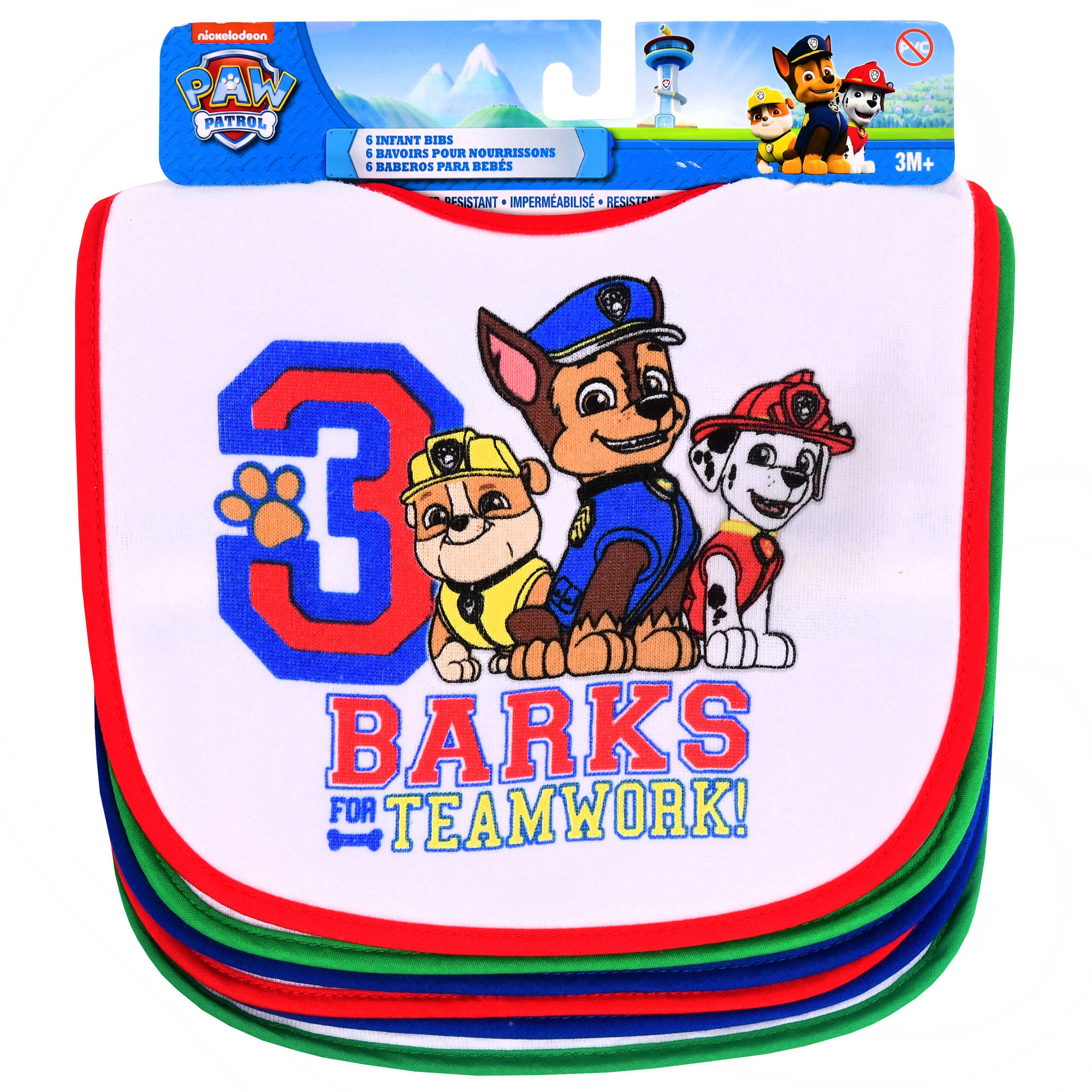 Boy Paw Patrol Bibs, Pack of 6