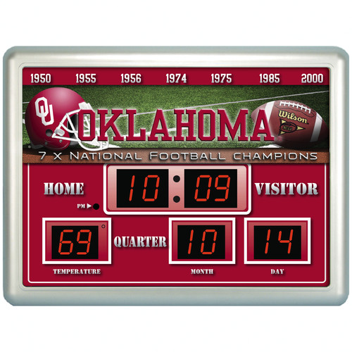 Team Sports America NCAA ScoreBoard Wall Clock with Thermometer