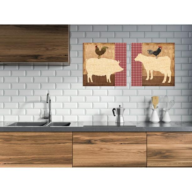 Gango Home Decor Retro Farm Animals Kitchen Wall Art Two Red 12x12in Unframed Paper Prints Walmart Com