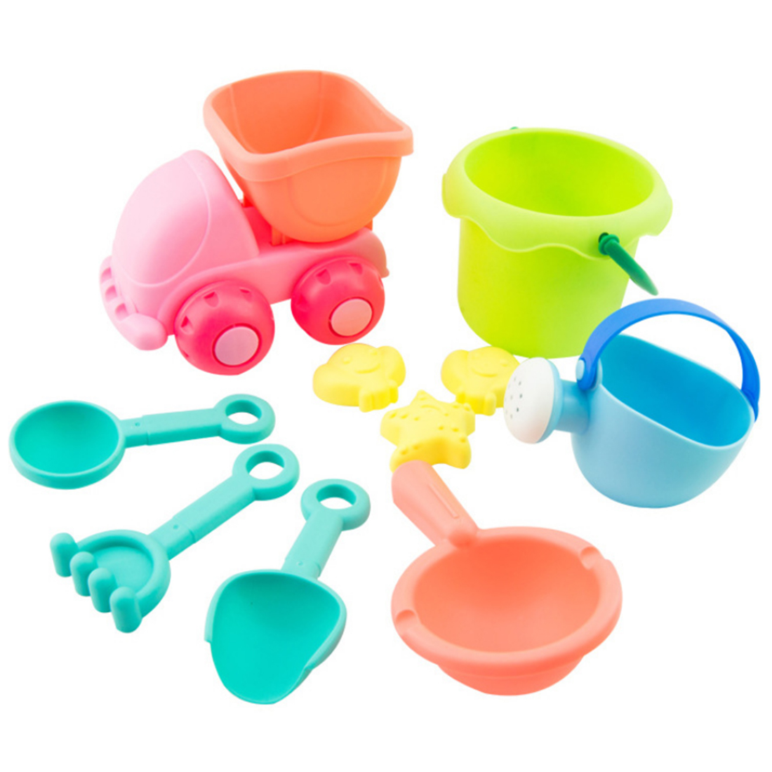 10Pcs Kids Beach Sand Toys Set Bucket Shovels Watering Can Children Safety Soft Plastic Beach Playing Toys Color Random by