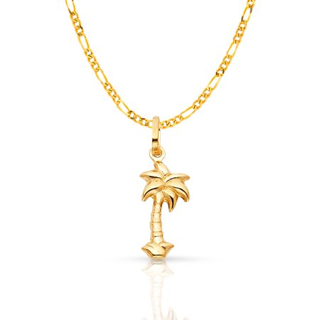 14K Yellow Gold Palm Tree Charm Pendant with 1.6mm Figaro 3+1 Chain Necklace 14k Yellow Gold Palm Tree