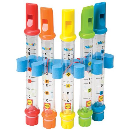 Water Flutes Tub Tunes, Includes 5 water flutes and easy-to-follow waterproof sheet music for all levels. By ALEX Toys