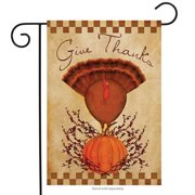 "Primitive Thanks Garden Flag Turkey Thanksgiving Briarwood Lane 12.5"" x 18"""