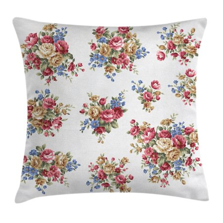 Floral Throw Pillow Cushion Cover, Vintage Rose Flower Bouquets Romance Love Wedding Themed Nostalgic Image, Decorative Square Accent Pillow Case, 16 X 16 Inches, Dark Coral Blue Tan, by Ambesonne (Vintage Wedding Theme)