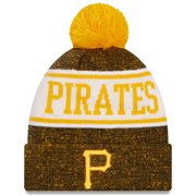 Pittsburgh Pirates New Era Banner Cuffed Knit Hat with Pom - Gold/Black - OSFA