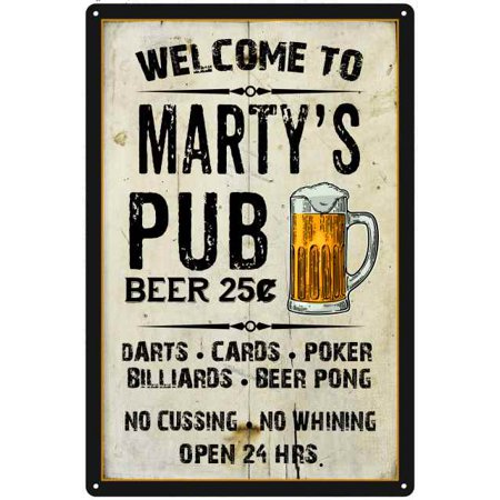 MARTY'S Pub Sign Vintage Man Cave Bar 8 x 12 High Gloss Metal (High Roller Pub Sign)