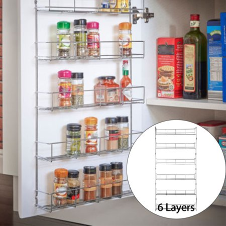 6 Tier Metal Spice Rack Wall Mount Kitchen Spices Organizer Pantry Cabinet  Hanging Herbs Seasoning Jars Storage Closet Door Cupboard Mounted Holder