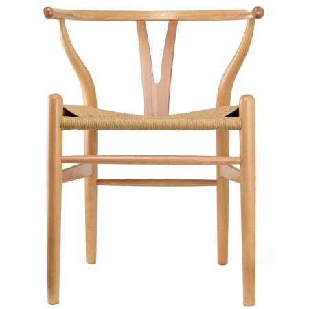 - 2xhome Natural Wishbone Wood Armchair With Arms Open Y Back Open Mid Century Modern Contemporary Assembled Chair Dining Chairs Woven Seat Brown for Kitchen Living Desk Office Guest Work Home Accent