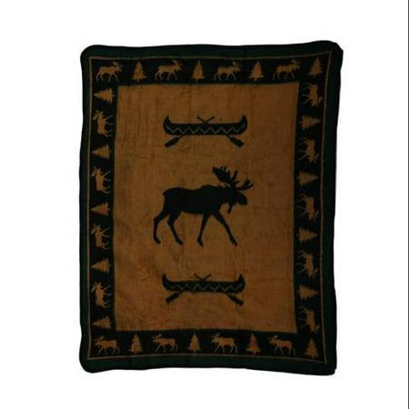 Moose and Canoe Plush Fleece Throw Blanket 50 X 60 in.
