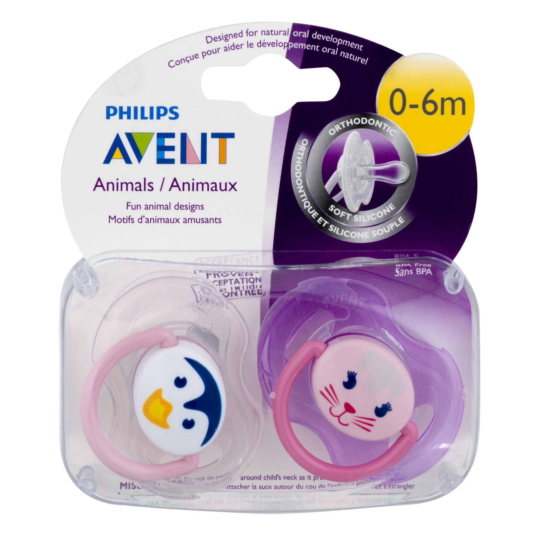Philips Avent Soother Animal Pacifier, 0-6 Months, Pink/Purple - 2 Counts