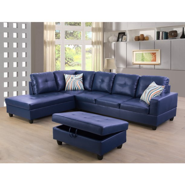 Ainehome Living Room Sectional Set Faux Leather Sectional Sofa With Storage Ottoman Left Hand Facing Blue Walmart Com Walmart Com