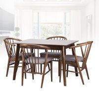 Dining Room Set of 4 Toby Chairs and Rectangular Table Kitchen Modern Solid Wood w/Padded Seat Medium Brown Color with Light Gray Cushion
