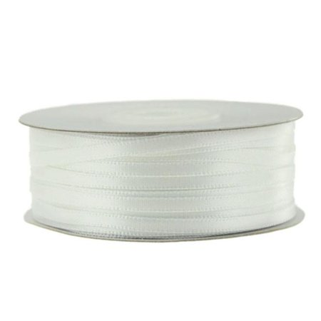 Double Faced Satin Ribbon, 1/8-inch, 100-yard, White