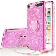 iPhone 7 Plus Case, iPhone 8 Plus Case w/[Temper Glass] Glitter Cute Phone Case Kickstand, Bling Diamond Rhinestone Bumper Ring Stand Protective iPhone 7 Plus/ 8 Plus Case Clear Girl Women - Hot Pink