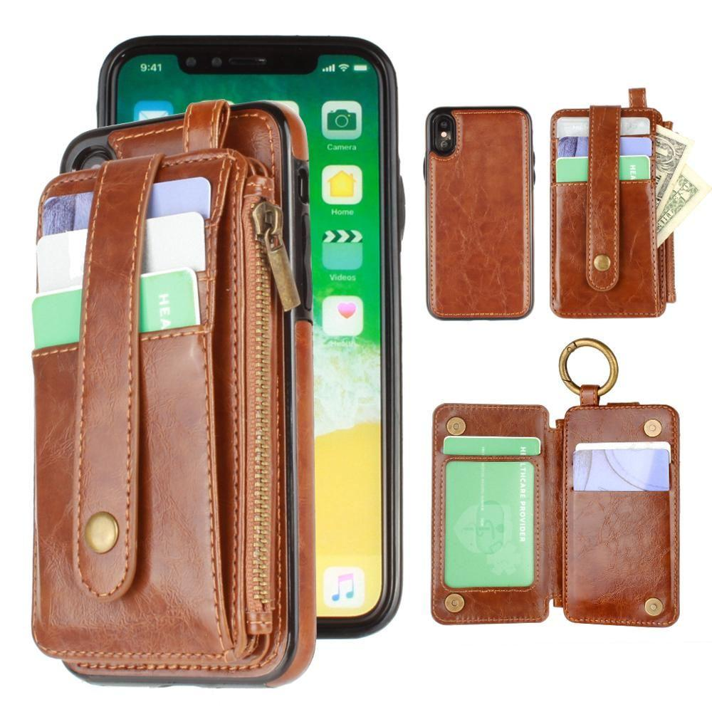 iPhone X Wallet Case, Slim PU Leather with Matching Detachable Slide Out Card Slot Organizer [Classic Pull Out - Purple]