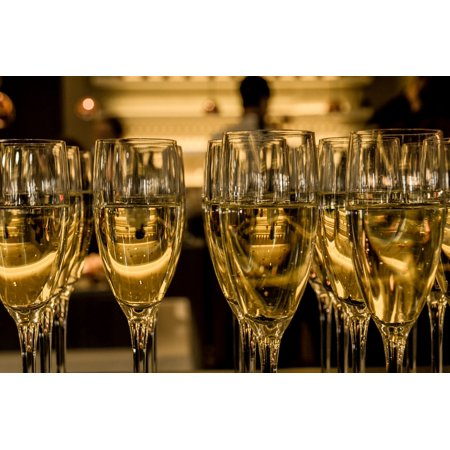LAMINATED POSTER Glasses Luxury Bubbles Champagne Beverage Festive Poster 24x16 Adhesive Decal - Champagne Bubble Bath
