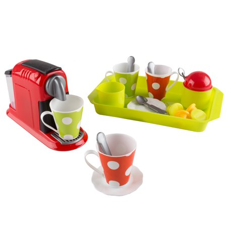 Maker Kitchen Appliances (Coffee Maker Toy Set- Pretend Kitchen Appliance for Play Espresso or Cappuccino Coffee Shop, Single Serve Brewer for Boys and Girls by Hey! Play!)
