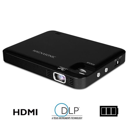 Replacement Dlp Projection Tv (Magnasonic LED Pocket Pico Video Projector, HDMI, Rechargeable Battery, Built-in Speaker, DLP, 60 inch Hi-Resolution Display for Streaming Movies, Presentations, Smartphones, Tablets, Laptops (PP60) )