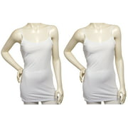 Womens 2 Pack White Cotton Tank Top Cami Spaghetti Strap Shirt (Small)