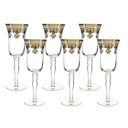 (D) Crystal Champagne Flute Glasses with Luxury Pattern 6pc, Vintage
