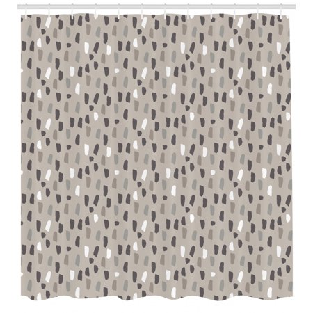 Geometric Shower Curtain Acrylic Brush Stroked Artistic Style Dashed Lines Grey Toning Raining Effect