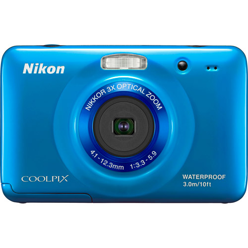 "Nikon CoolPix S30 Blue 10.1MP Digital Camera w/ 3x Optical Zoom, 2.7"" LCD Display, Waterproof"