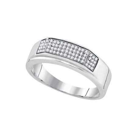 Sterling Silver Mens Round Diamond Micropave Flat Wedding Anniversary Band Ring 1/5 Cttw