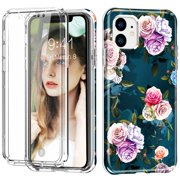 """iPhone 11 6.1"""" Case with Built in Screen Protector, Dteck Full Body Shockproof Dual Layer High Impact Protective Anti-Scratch Soft TPU Cover Cases for iPhone 11 6.1 inch 2019, Flower"""