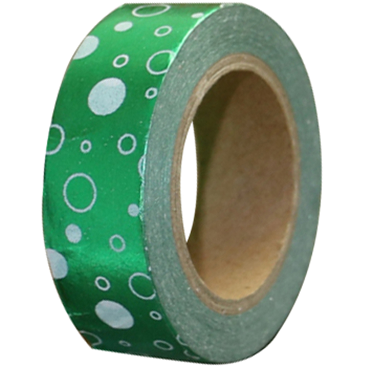 Love My Tapes Foil Washi Tape 15mmx10m-Green White Dots