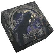 4 Inch Raven Spell Caster Mirror Square Jewelry/Trinket Box Figurine
