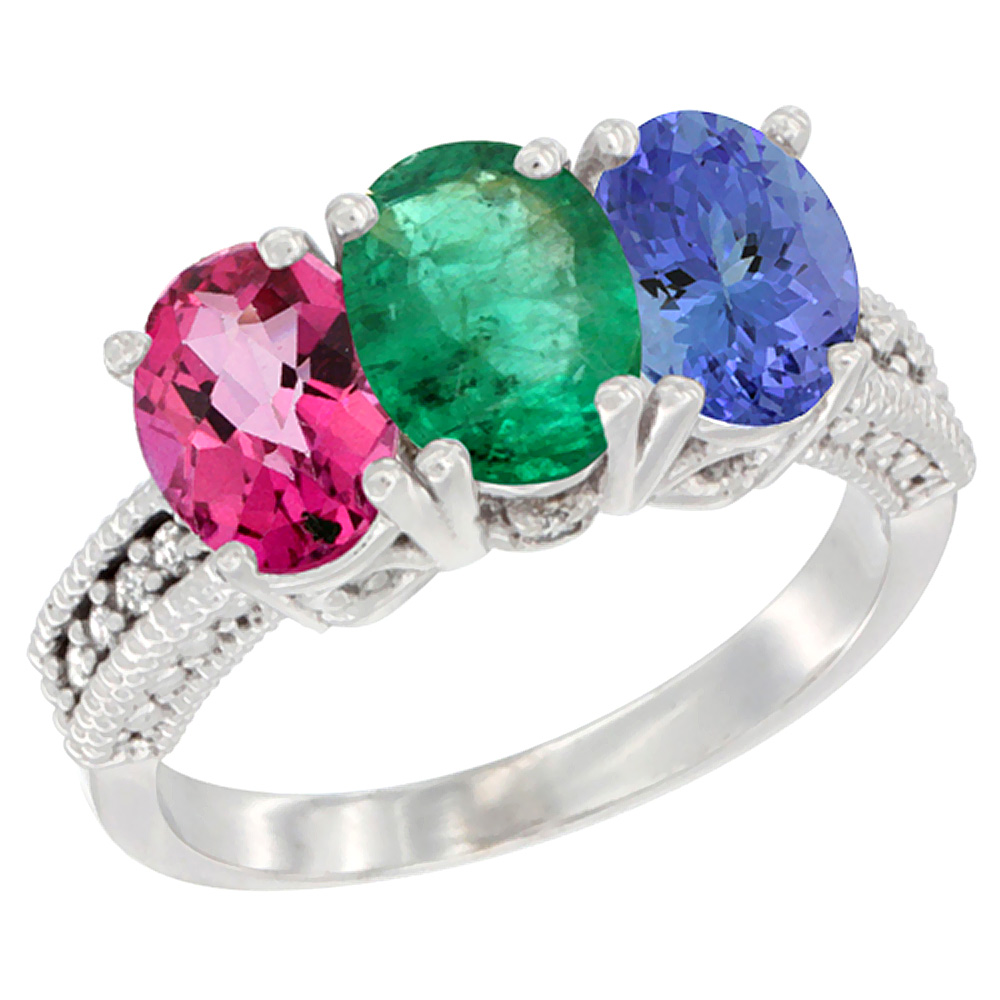 10K White Gold Natural Pink Topaz, Emerald & Tanzanite Ring 3-Stone Oval 7x5 mm Diamond Accent, sizes 5 10 by WorldJewels