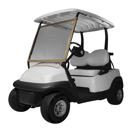 "Classic Accessories Fairway Deluxe Portable Golf Cart Windshield, 38""L x 29""H, Sand/Clear"