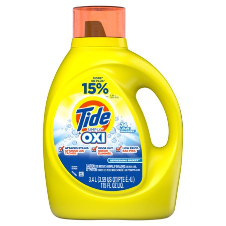 Tide Liquid Laundry Detergent with Oxi, Refreshing Breeze, 74 Loads, 115 fl oz - Roll Tide Colors