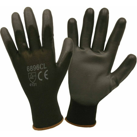 Black Nylon Work Gloves with a Polyurethane Coating, Pack of 12 - Black Lighting Gloves