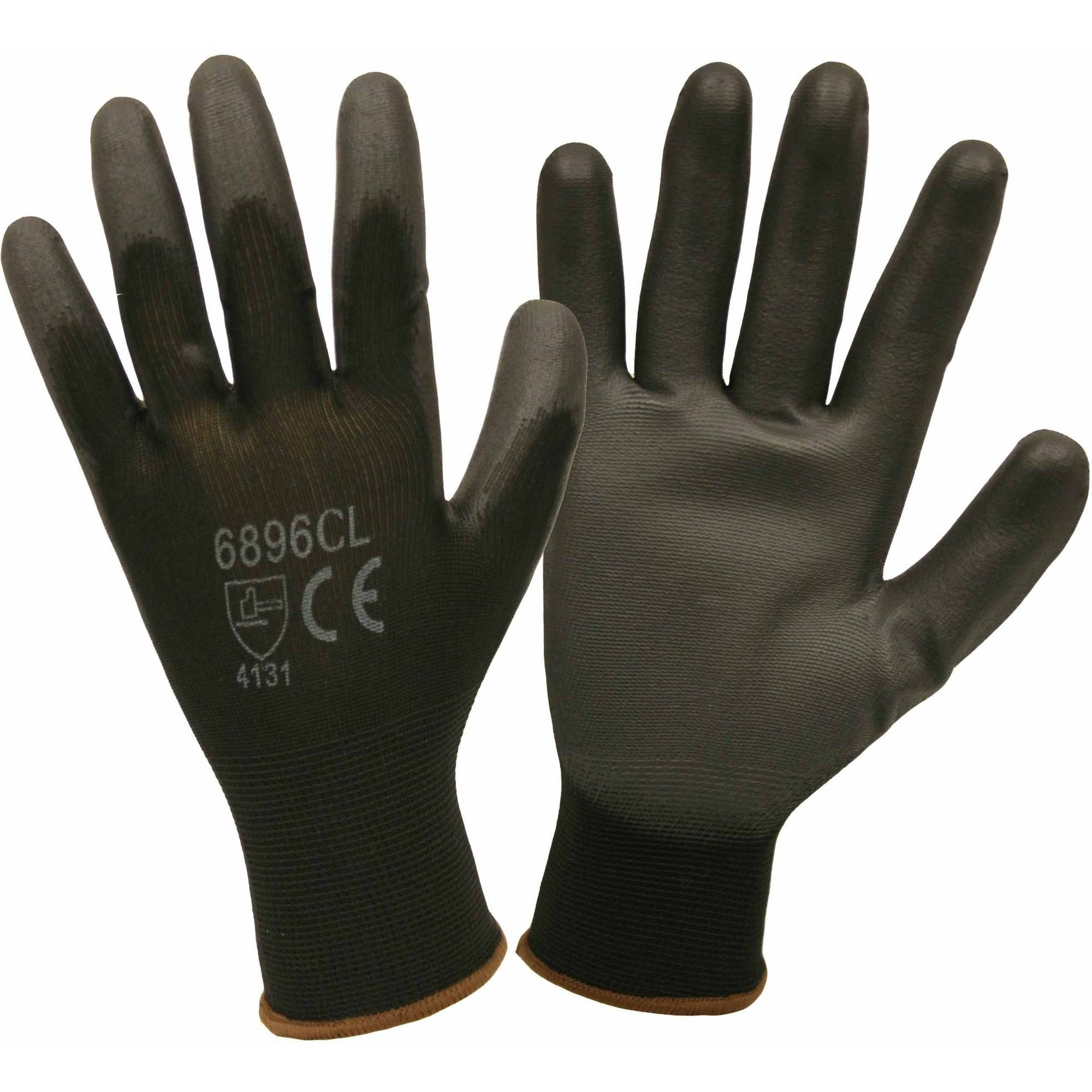 Black Nylon Work Gloves with a Polyurethane Coating, Pack of 12 Pairs