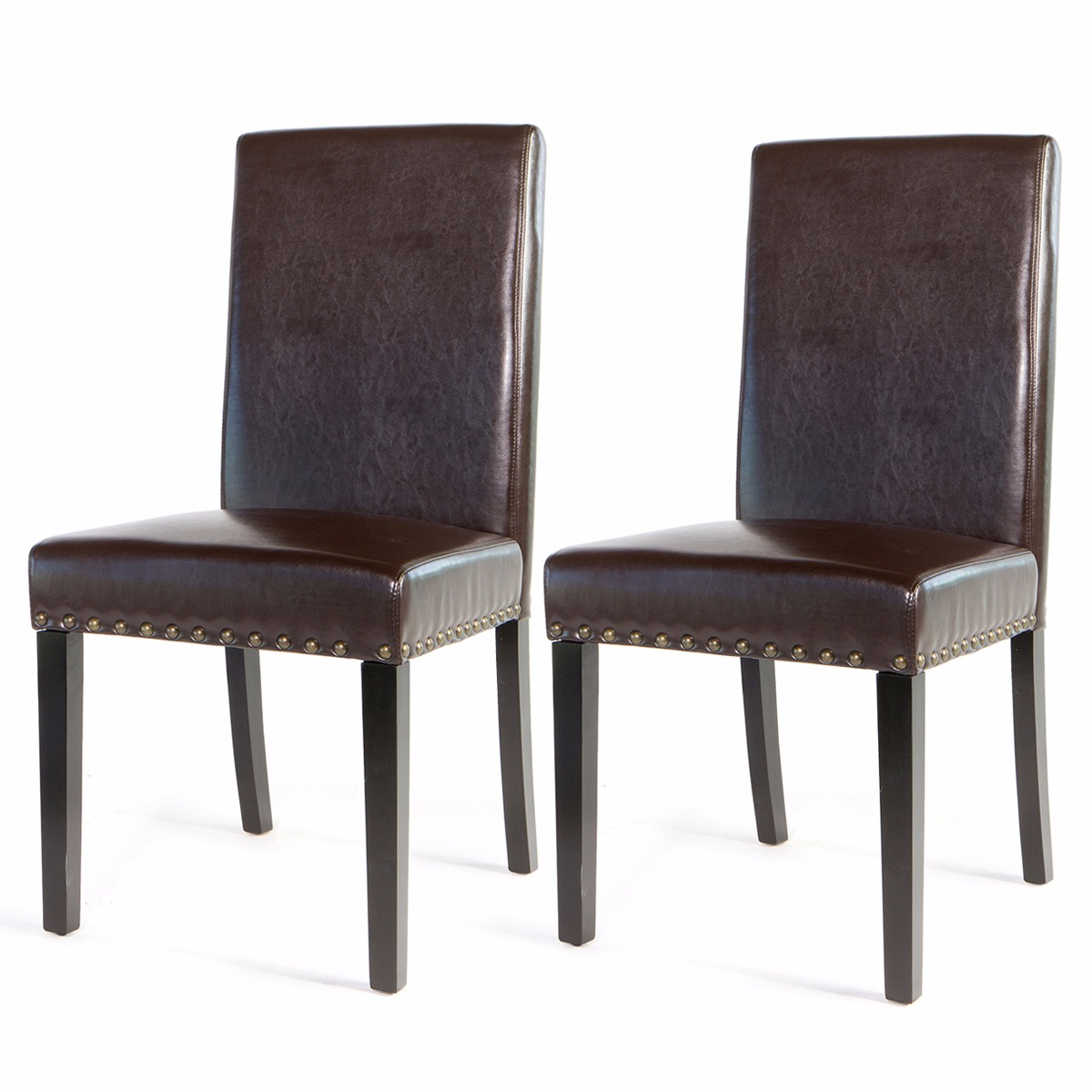 Sef of 2 Barton Luxury Stylish Nail Head Leather Dining Chair Extra Large, Brown