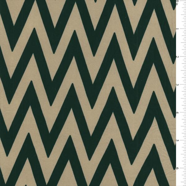 ITY Tan/Black Chevron Jersey Knit, Fabric By the Yard