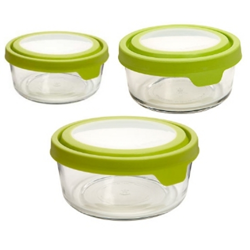 Anchor Hocking TrueSeal Assorted Round Glass Food Storage Container with Green Airtight Lid, Set of 3