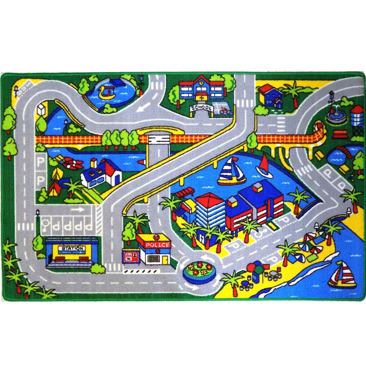 Kids Rug Harbor Map 5 X 7 Childrens Fun Learning Carpet 59 X 82