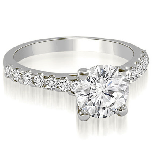 """1.30 cttw. 14K White Gold Cathedral Round Cut Diamond Engagement Ring (I1, H-I)"""