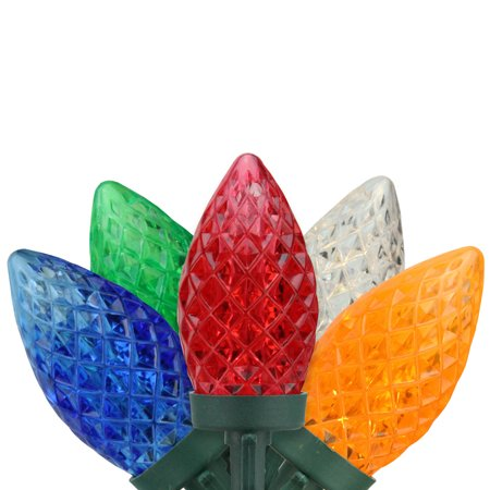 100 Commercial Length Multi-Color LED Faceted C9 Christmas Lights on Spool 5